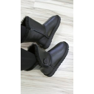 "UGG BAILEY BUTTON II BOOT LEATHER ""BLACK"" Арт. 0045"